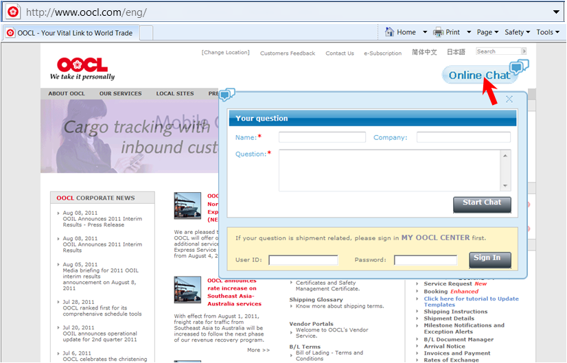 OOCL - OOCL s 7x24 Online Chat is Gaining Popularity. Our Customer ... 857c47def