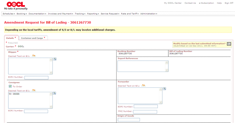 Oocl Click To Accept Draft Bill Of Lading Feature Without Log In To My Oocl Center
