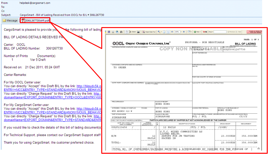 bill of lading sample pdf