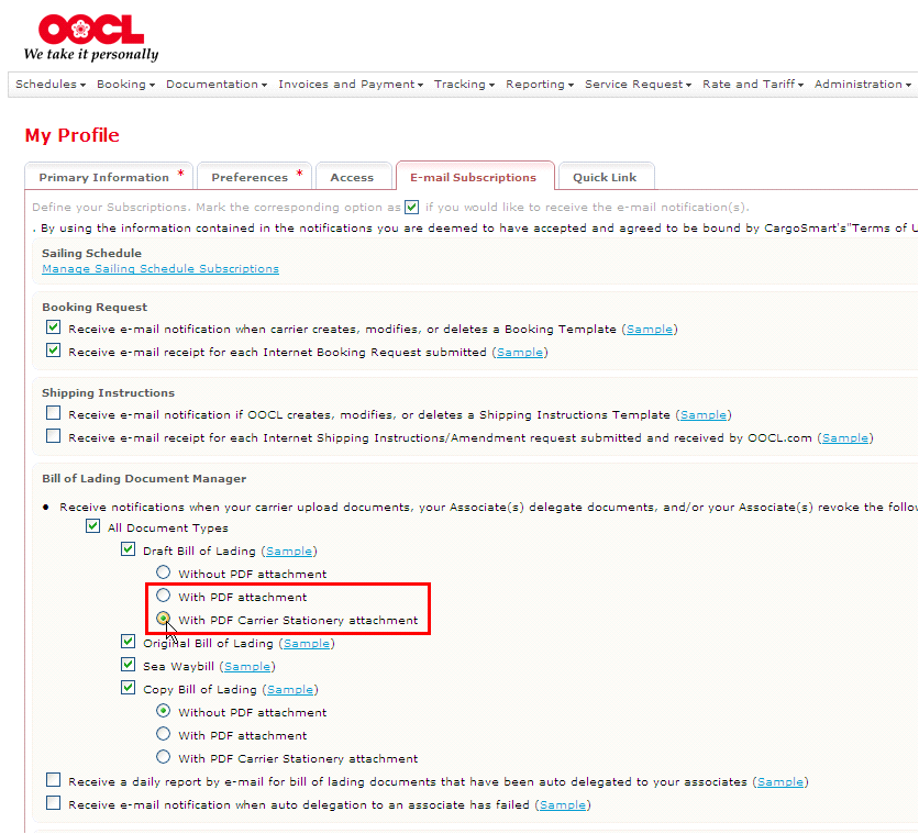 oocl click to accept draft bill of lading feature without log in